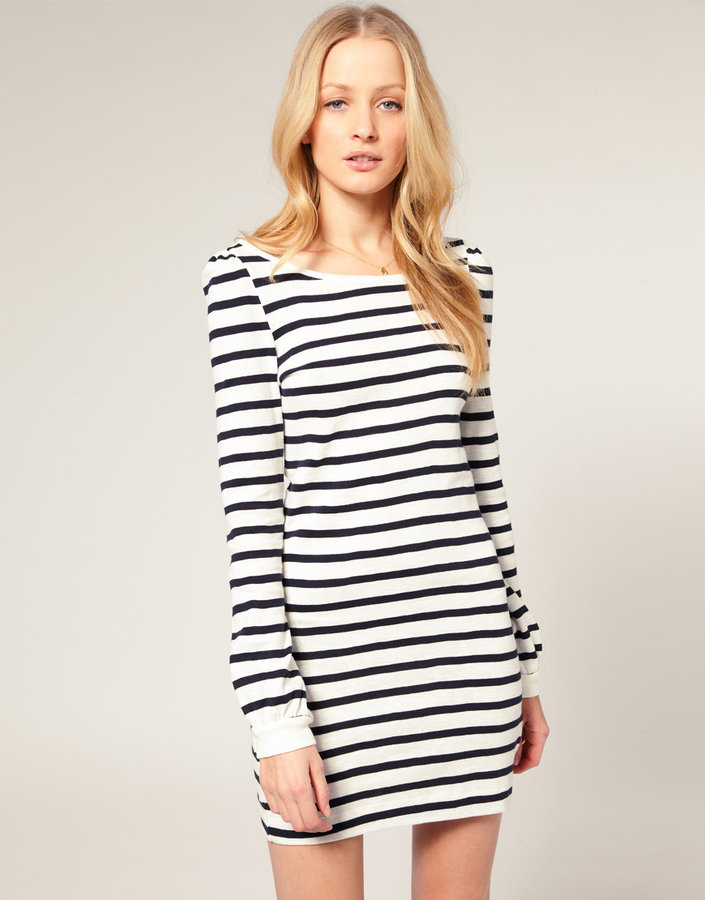 French Connection Stripe Bell Sleeve Dress