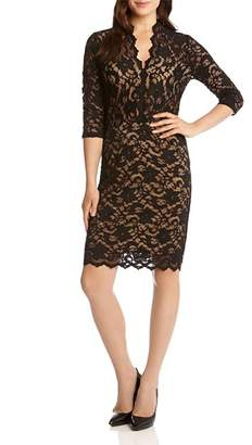 Karen Kane V-Neck Scalloped Lace Dress