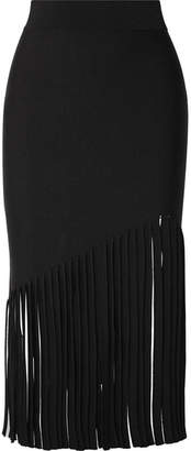 Fringed Stretch-knit Midi Skirt - Black