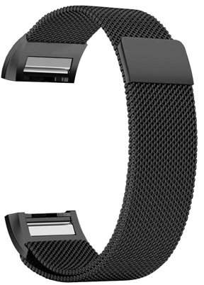 Fitbit iGK Charge 2 Bands Replacement Accessories Milanese Loop Stainless Steel Metal Bracelet Strap with Unique Magnet Lock for Charge 2 (Black, Small)