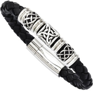 "Steel By Design Stainless Steel 8-1/2"" Black Leather Woven Bead Bracelet"