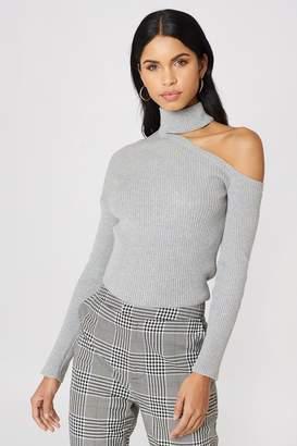NA-KD Na Kd High Neck Cut Out Shoulder Sweater Grey Melange