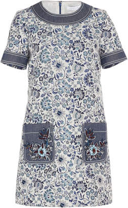 Andrew Gn Short Sleeve Floral Dress