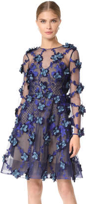 Marchesa Embroidered Cocktail Dress
