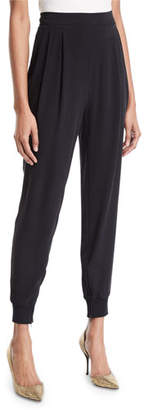 Eileen Fisher Silk Crepe Pull-On Jogger Pants w/ Ankle-Zip
