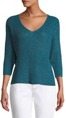 Eileen Fisher Organic Linen 3/4-Sleeve V-Neck Sweater