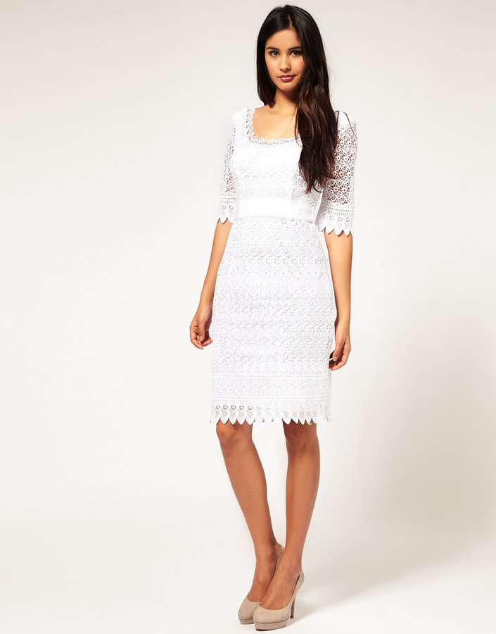 Coast Lace Dress with Contrast Belt