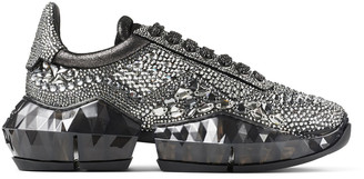 Jimmy Choo DIAMOND/F Smoke Metallic Suede Low Top Trainers with Chunky Sole and Crystal Application