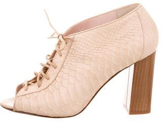 Kate SpadeKate Spade New York Embossed Leather Peep-Toe Booties