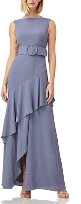 Kay Unger Ruffle Trim Wrap Look Belted Gown
