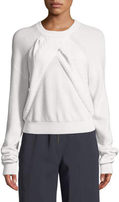 Carven Long-Sleeve Crewneck Sweater with Cable-Knit Front