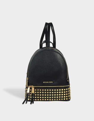 MICHAEL Michael Kors Rhea Zip Medium Pyramid Studded Backpack in Black Soft Venus