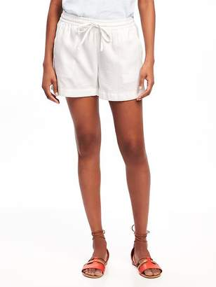 "Mid-Rise Cuffed Linen-Blend Shorts for Women (4"") $22.94 thestylecure.com"