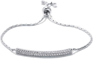 FINE JEWELRY Cubic Zirconia Sterling Silver Bar Slide Bracelet