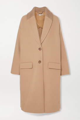 Stella McCartney Knit-trimmed Wool Coat - Camel