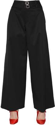 Cropped & Wide Cotton Stretch Pants