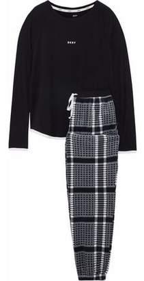 DKNY Checked Fleece And Stretch-Modal Jersey Pajama Set