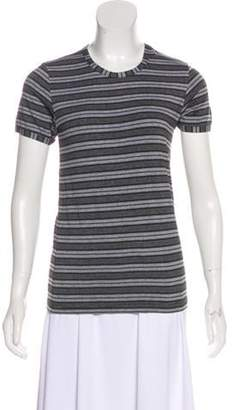Dolce & Gabbana Striped Short Sleeve Top Grey Striped Short Sleeve Top
