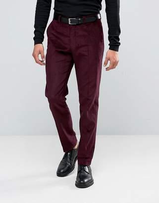 ASOS Slim Suit Pants in Burgundy Velvet Cord $61 thestylecure.com