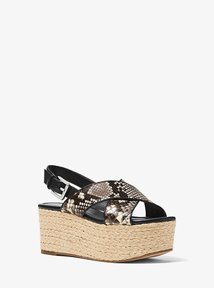 Michael Kors Jodi Embossed Leather Espadrille Wedge