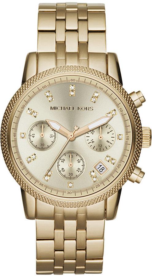 Michael Kors Michael Kors Women's Chronograph Ritz Gold-Tone Stainless Steel Bracelet Watch 36mm MK5676
