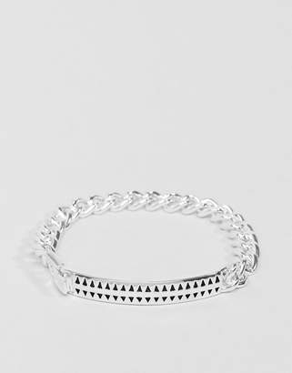 ICON BRAND Premium Hound Tooth ID Bracelet In Silver