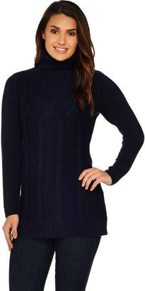 Susan Graver Cotton Acrylic Cable Sweater with Turtleneck