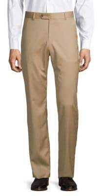 Saks Fifth Avenue BLACK Flat-Front Solid Wool Pants
