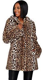Dennis Basso Zip Front Faux Fur Coat with Hood& Waist Detail