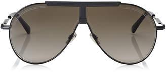 Jimmy Choo EDDY Brown Shaded Aviator Sunglasses with Black Metal Frame