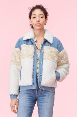 Rebecca Taylor La Vie Mixed Faux Fur & Denim Jacket