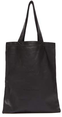 Rick Owens Logo Embroidered Leather Tote Bag - Mens - Black