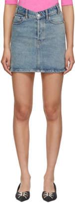 Balenciaga Blue Denim V-Neck Miniskirt