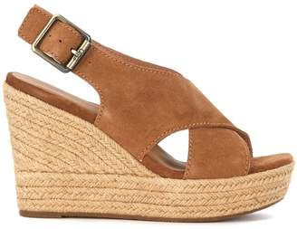 UGG Harlow Brown Suede Wedge Sandal