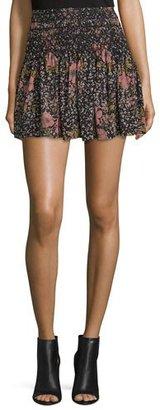 Zadig & Voltaire Smocked Floral Silk Mini Skirt, Noir $200 thestylecure.com