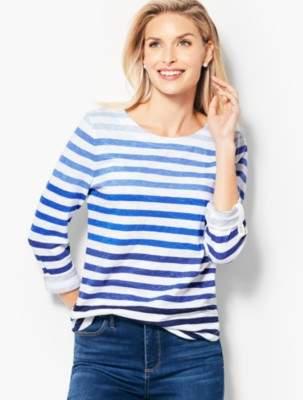 Talbots Cotton Roll-Cuff Top - Ombre Stripe