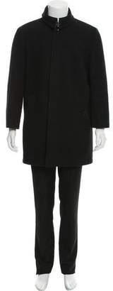 Burberry Check Trim Wool Coat