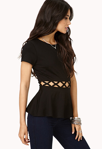 Forever 21 Forget Me Not Cutout Peplum Top