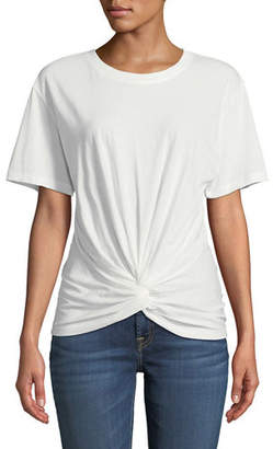 7 For All Mankind Crewneck Short-Sleeve Knotted-Front Cotton Tee