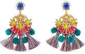 Elizabeth Cole 24-Karat Gold-Plated Swarovski Crystal Tassel And Pompom Earrings
