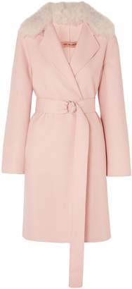 Yves Salomon Shearling-trimmed Belted Wool And Cotton-blend Coat
