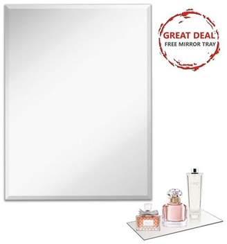 "Light in the Dark Frameless Rectangle Glass Mirror Large Beveled Edge Mirrored Panel for Vanity, Bedroom, Bathroom, Gym . (24"" W x 36"" H)"