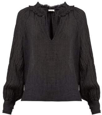 Masscob Morant Slubbed Linen Blend Blouse - Womens - Black