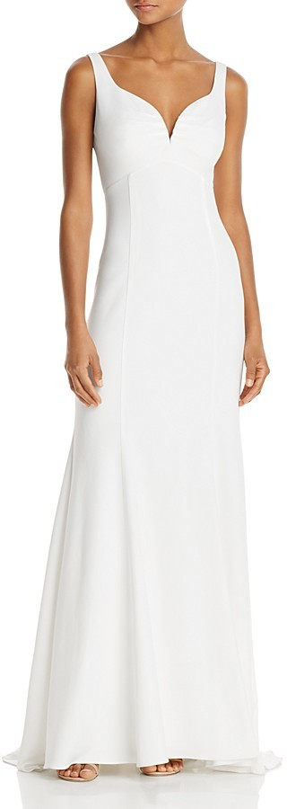 Adrianna Papell Adrianna Papell V-Neck Back-Cutout Gown