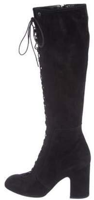 Laurence Dacade Suede Knee-High Boots Black Suede Knee-High Boots