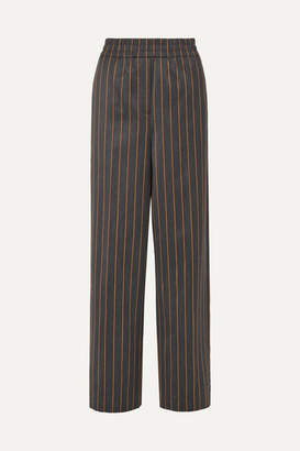 Calvin Klein Striped Wool And Cotton-blend Wide-leg Pants - Gray
