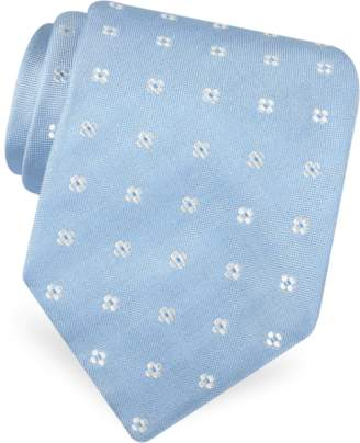 Forzieri Gold Line- Rounded Flower Dots Woven Silk Tie
