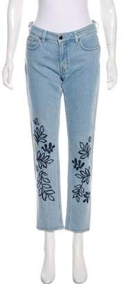 Victoria Beckham Victoria Embroidered Mid-Rise Straight-Leg Jeans