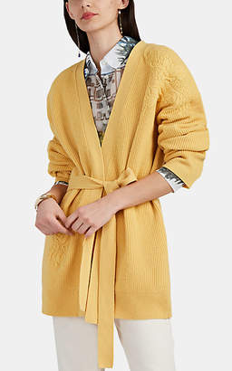 Altuzarra Women's Jareth Embroidered Wool-Cashmere Belted Cardigan - Yellow