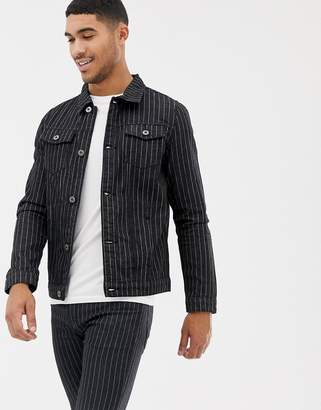 N. Liquor Poker denim jacket with pinstripe in black